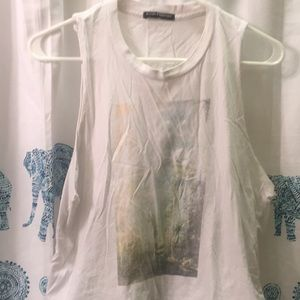 Brandy Melville white good vibes  muscle t-shirt